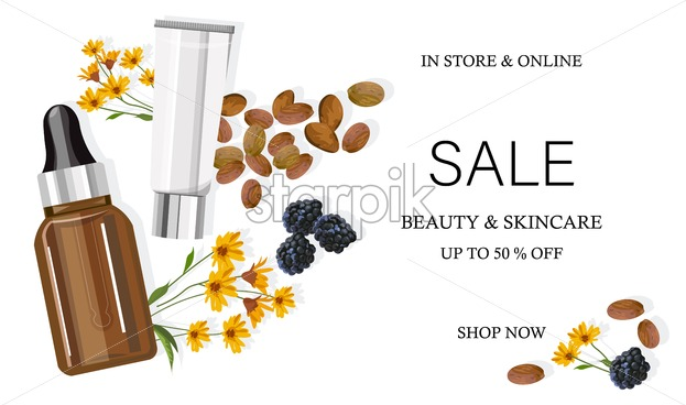 Cocoa beans cosmetic products. Sale banner with flowers and blueberries decorations. Natural healthcare vector - Starpik Stock