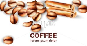 Coffee beans and cinnamon sticks. Watercolor vector - Starpik Stock