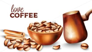Coffee beans in a tray, cinnamon sticks and cooper turkish coffee pot. Watercolor vector - Starpik Stock