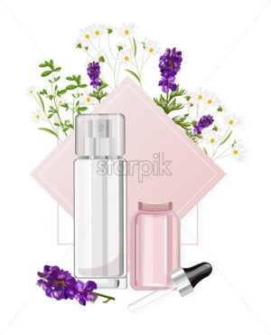 Cosmetic products spray bottle and glass with dropper with place for brand. Chamomile and lavender flowers. Pink color. Natural healthcare vector - Starpik Stock