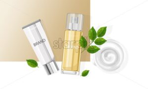 Cosmetic products spray bottles with place for brand. Mint leaves and cream decorations. Natural healthcare vector - Starpik Stock