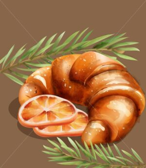 Croissant with orange slices and fir branches Vector - Starpik Stock