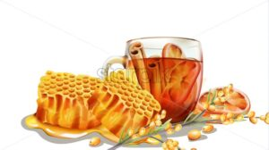 Dripping honeycomb with a cup of tea filled with cinnamon sticks and orange slices. Yellow berries on foreground - Starpik Stock