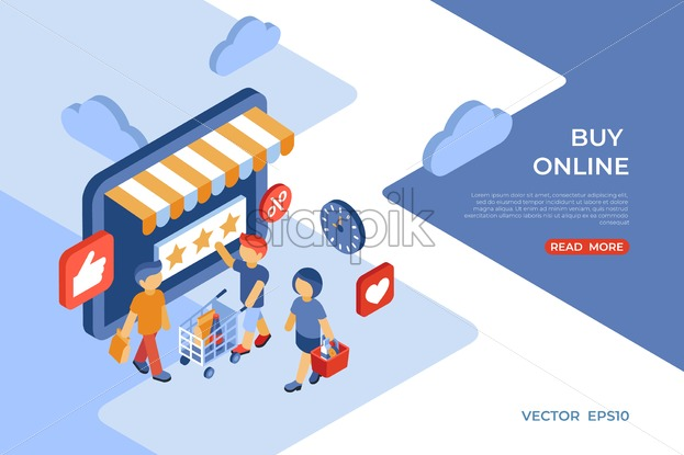 Eshop buy online store isometric icons flat digital vector with happy customers - Starpik Stock