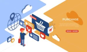 Eshop purchase online store isometric icons flat digital vector with happy customers - Starpik Stock