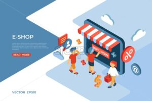 Eshop store isometric icons flat digital vector with happy customers - Starpik Stock