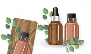 Eucalyptus essential oil bottles with dropper. Green leaves decorations on wooden texture. Healthcare Vector - Starpik Stock