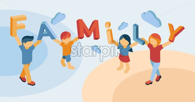 Family isometric icons flat digital vector with happy people - Starpik Stock