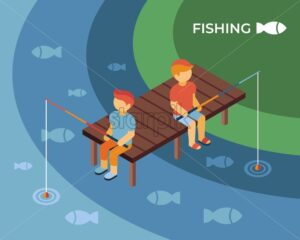 Fishing isometric icons flat digital vector with kids on a pond - Starpik Stock