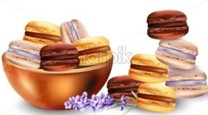 French macaroon sweets in tray. Lavender flower decorations. Watercolor vector - Starpik Stock