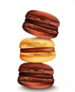 French macaroon sweets in watercolor style. Vector - Starpik Stock