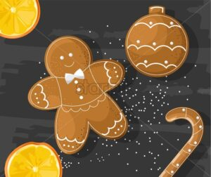 Gingerbread cookies on dark background. Orange slices. Vector - Starpik Stock