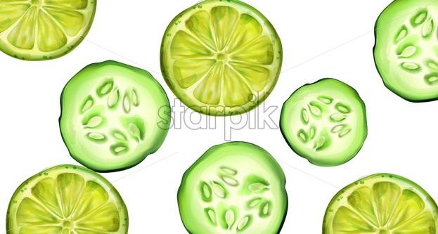 Green cucumber and lime slices for banner. Watercolor style vector - Starpik Stock