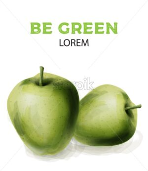 Green watercolor apples. Healthy products vector - Starpik Stock