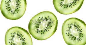 Green watercolor sliced kiwi fruit. Healthy food vector - Starpik Stock