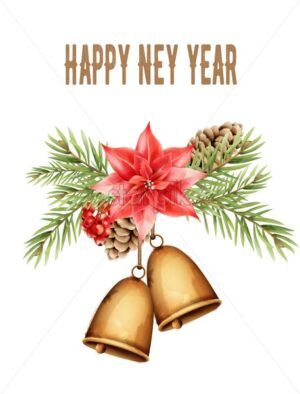Happy new year composition with bell, red flower, berries, pine cone and leaves. Watercolor vector - Starpik Stock