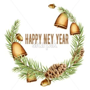 Happy new year wreath composition with bell, pine cone and leaves. Watercolor vector - Starpik Stock