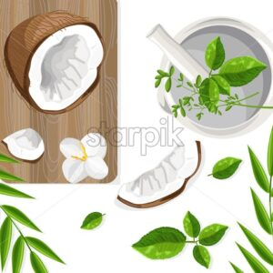 Healthy and organic food cuisine. Coconut and mint leaves on wooden cutting board. Orchid flower ornaments. Vector - Starpik Stock