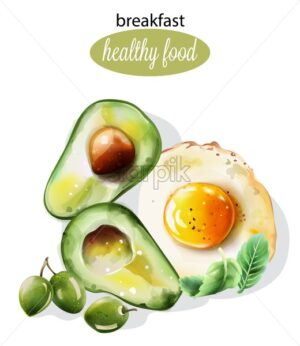 Healthy breakfast with avocado, fried egg, mint and olives. Watercolor food vector - Starpik Stock