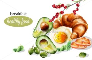 Healthy breakfast with avocado, fried egg, mint, cranberry, croissant and olives. Watercolor food vector - Starpik Stock
