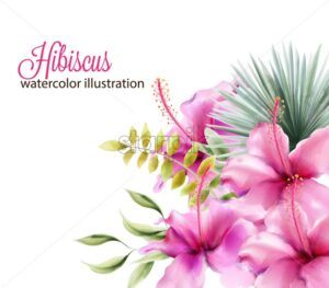 Hibiscus flowers and palm leaves. Watercolor vector - Starpik Stock