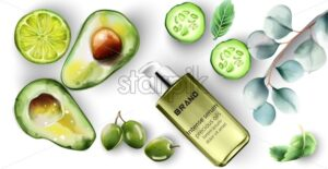 Intense serum bottle with healthy products decoration. Cucumber, lime, avocado, olive. Watercolor vector - Starpik Stock
