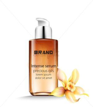 Intense serum bottle with precious oils inside. Vanilla decoration - Starpik Stock