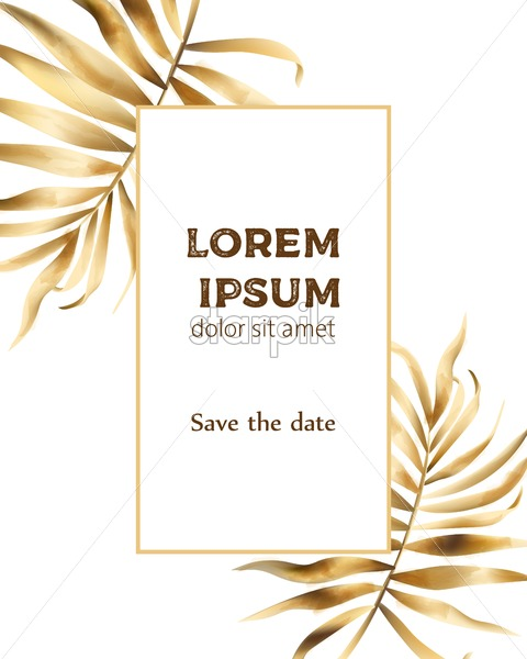 Invitation card composition with golden leaves and frame for text. Vector - Starpik Stock