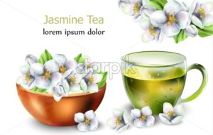 Jasmine tea with flowers decorations. White isolated background. - Starpik Stock