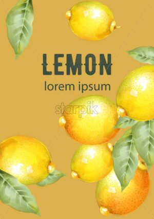 Lemons with green leaves natural composition vector - Starpik Stock