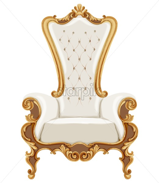 Louis XVI style chair with golden neoclassic ornaments. Vector - Starpik Stock