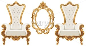 Louis XVI style chairs and mirror with golden neoclassic ornaments. Vector - Starpik Stock