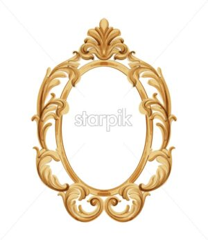 Louis XVI style mirror with golden neoclassic ornaments. Vector - Starpik Stock