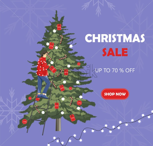 Man decorating christmas tree with sale badges from ladder. Snowflakes on background.Vector - Starpik Stock