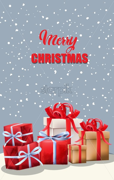Merry Christmas red gift boxes with ribbon. Green fir tree leaves. Snowy background. Vector - Starpik Stock