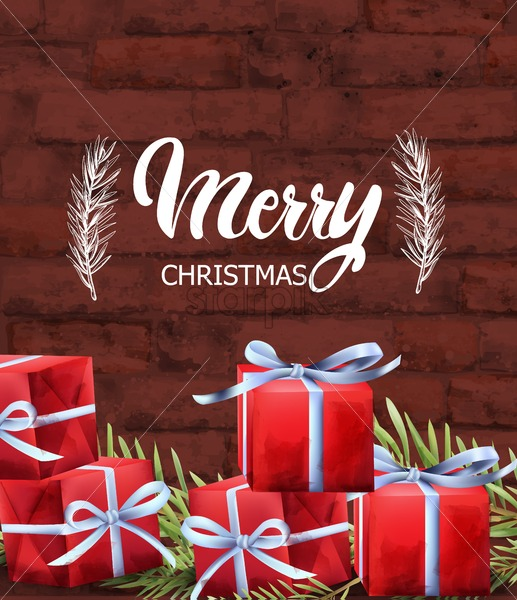 Merry Christmas red gift boxes with white ribbon. Green fir tree leaves. Brick wall background. Vector - Starpik Stock
