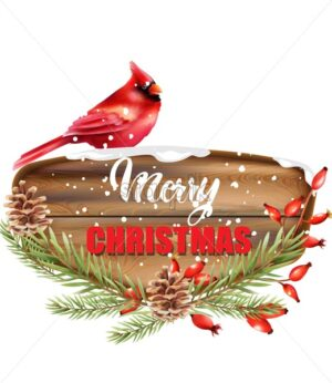 Merry Christmas written on wooden piece. Red tropical bird sitting on sign. Snow falling. Conifer cone, red berries and fir tree leaves. Winter vector - Starpik Stock