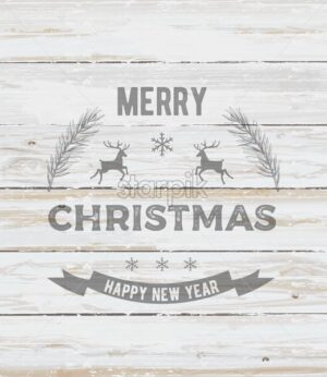 Merry christmas and happy new year composition with pine tree leaves and reindeer. White wooden background. Holiday vector - Starpik Stock