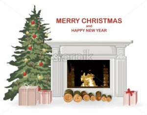 Merry christmas composition with chimney, green tree, wood and gifts. New year holiday vector - Starpik Stock