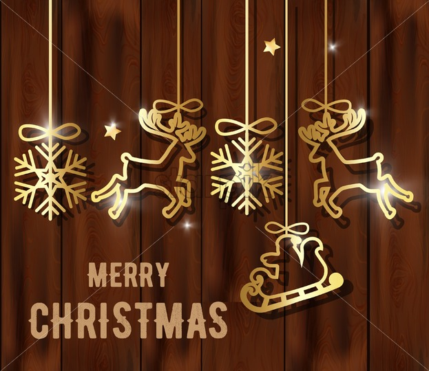 Merry christmas composition with golden decorations hanging. Snowflakes, reindeer, santa with sledge - Starpik Stock