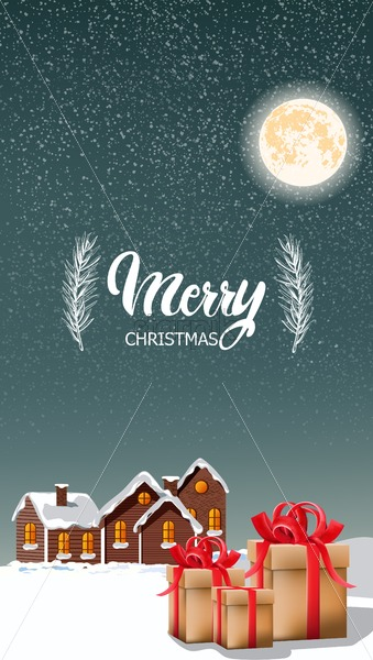 Merry christmas gift boxes with red ribbon and village houses covered in snow. Moon and falling blizzard. Holiday vector - Starpik Stock