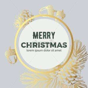 Merry christmas golden wreath sketch style composition with nuts, pine cones and fir tree leaves. Line art vector - Starpik Stock