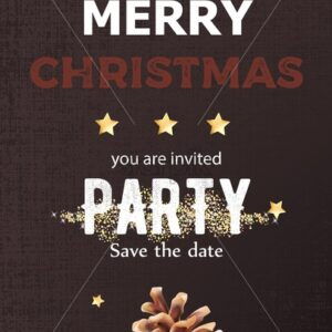 Merry christmas party invitation with conifer cone decoration. Chestnut textured background. Vector - Starpik Stock