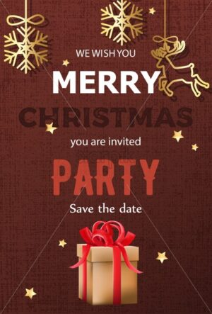 Merry christmas party invitation with gift boxes and hanging decorations. Dark red textured background with stars. Vector - Starpik Stock