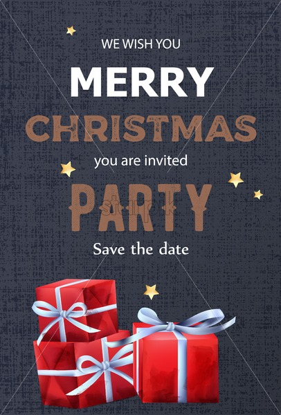 Merry christmas party invitation with red gift boxes decoration. Blue textured background. Vector - Starpik Stock