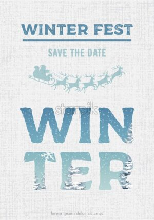 Merry christmas party invitation. Santa with reindeer sledge decoration. White textured background. Vector - Starpik Stock