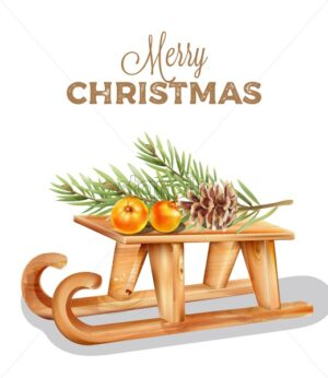 Merry christmas wooden sleigh with orange fruits on top. Pine cone and leaves decorations - Starpik Stock