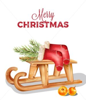Merry christmas wooden sleigh with red socks and pine tree leaves on top. Orange decorations - Starpik Stock