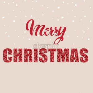 Merry christmas written with red letters and shiny text. Snow falling - Starpik Stock
