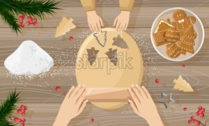 Mother cooking with her children gingerbread cookies. Making forms on dough. Orange slices decorations. Wooden background. Christmas kitchen vector - Starpik Stock